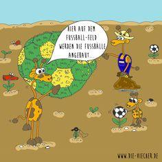 @DieViecher , Cartoon , Comic , Giraffe , Giraffen , www.die-viecher.de , Oberhausen , NRW  , Deutschland , Cartoonist, Eva Böhm, Redewendung, Sprichworte, Wortspiele, schwarzer Humor, Wortwitz, wortwörtlich nehmen, über Worte stolpern, Digitalart, Zeichnen mit iPad Pro und Apple Pencil, Animation Cartoon, lustige Tiere, typisch Deutsch, Fussball Feld, Fussballfeld, Fussball, Fussballschuhe, Fussballrasen, Ackerbau, Bauer Fussballfeld