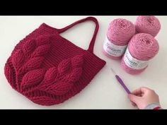 Macrame Rope Crochet Knitting Leaf Pattern Bag Half - Part 1 - YouT . - Crochet Clothing and Accessories