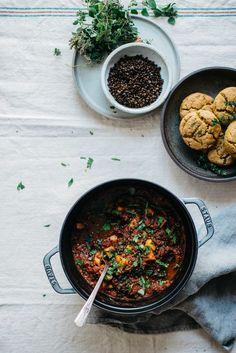 black lentil, sweet potato + kale chili w/ kabocha biscuits #veganmeals #lentilsrecipe #healthyeating , gluten free