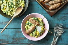 Minced lamb koftas with coconut pilaf and minty yogurt
