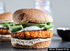 Many veggie burger recipes using quinoa, edamame, beans, chickpeas, sweet potato, and more.