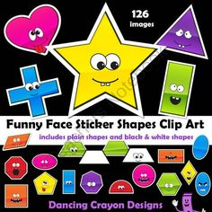 Shapes Clip Art from Dancing_Crayon_Designs on TeachersNotebook.com -  (126 pages)  - Funny face shape clip art - will bring a smile to your child's face!