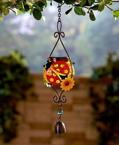 Hanging Solar Light Outdoor Lantern With Bell Home Patio Decor Ladybug