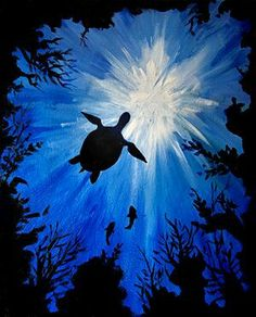beautiful painting with sea turtle and reef silhouette with blue ocean via Paint Nite Artist Kristina Elizabeth. Painting Inspiration, Art Inspo, Sketch Inspiration, Ecole Art, Paint And Sip, Easy Paintings, Ocean Paintings, Deep Paintings, Underwater Painting