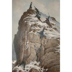 The Ascent of the Matterhorn, On July Early Mountain Climbing Gustave Doré Lithograph Pictorial Maps, Gustave Dore, July 14, Mountain Climbing, Sports Art, Grand Tour, Antique Prints, French Artists, Natural History
