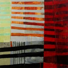 """Jane Davies - """"3'x3' Stripes #1"""",""""3'x3' Stripes #1"""", acrylic on canvas.  From blog: collage journeys: Stripes in Sequence"""