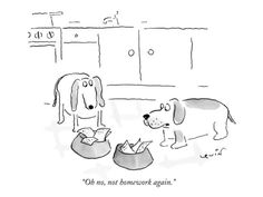 """""""Oh no, not homework again."""" - New Yorker Cartoon Poster Print by Arnie Levin at the Condé Nast Collection"""