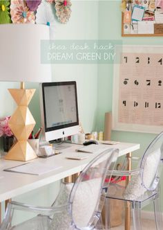 Office inspiration, love the gold, peach and mint combination