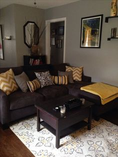 Living room paint ideas brown furniture living room colors with brown couch living room color schemes Grey And Yellow Living Room, Brown Couch Living Room, Dark Living Rooms, Living Room Grey, Dark Rooms, Brown Sofa Grey Walls, Grey Yellow, Rv Living, Living Room Decor With Brown Sofa