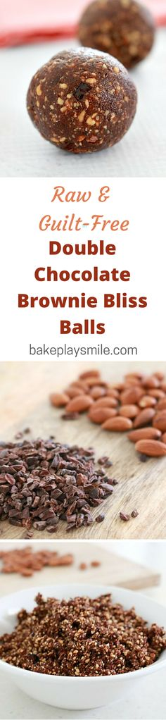 Totally raw and guilt-free! You've got to love that! These double chocolate brownie bliss balls taste just like a decant dessert!