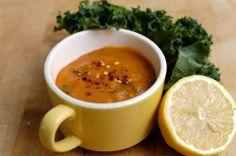 Creamy sweet potato and kale soup