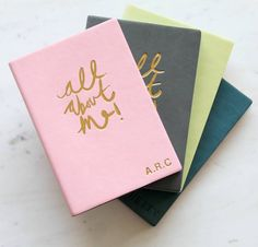"Personalised 'All about me' Pu Leather Notebook. A chic ""all about me"" PU leather notebook ready to be embossed with your personalisation in the bottom right hand corner."