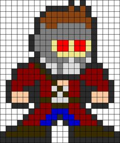 Guardians Of The Galaxy Star Lord Peter Quill Perler Bead Pattern / Bead Sprite