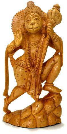 Hanuman - Hindu God of Strength Deity Statue Sculpture Figure - wooden carved   eBay