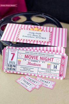Movie Night Invitation Printable RED, Ticket Stub The product is already in the wishlist! The product is already in the wishlist! movie night ticket stub invitation with individual tickets a Backyard Movie Party, Outdoor Movie Party, Backyard Movie Nights, Outdoor Movie Nights, Outdoor Movie Birthday, Backyard Parties, Deco Cinema, Cinema Party, Movie Theater Party