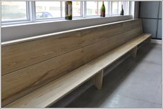 A restaurant waiting bench. 14' long, solid ash. Designed and built by Turner Custom Furniture and Stephen Evans.
