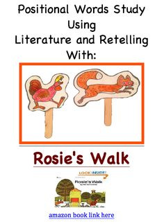 Rosie's Walk puppets, activity map, and story circle - Positional Word Literature Activities based on the book Rosie's Walk by Pat Hutchins. Aligned with both Kindergarten and First Grade Common Core Standards. Engaging and fun for literacy centers!