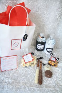 Here's the completed Welcome Bags for hotel wedding guests that I completed! They turned out so cute!