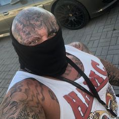 "Cora Schumacher publicized her budding relationship with Hells Angels rocker ""Lenox AFFA"" aka Nabil H. Hells Angels, Kopf Tattoo, Biker Tattoos, Angels Logo, Biker Quotes, Face Tattoos, Masked Man, Rocker, Motorcycle Clubs"