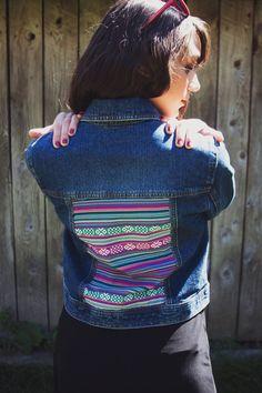 Aguayo Fabric Insert Denim Jacket by WhereClothes on Etsy