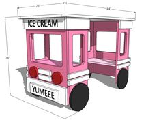 Ice Cream Truck Play Table or Desk