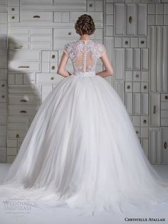 chrystelle atallah spring 2014 illusion cap sleeve princess ball gown wedding dress back view