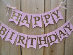 Light Pink And Gold Glitter Happy Birthday Banner - Can Be Customized With Name