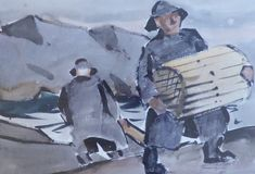 """Lugging Traps, Monhegan,"" James Fitzgerald, watercolor, 15 x private collection. James Fitzgerald, Jamie Wyeth, Robert Henri, Monhegan Island, Rockwell Kent, Edward Hopper, Fashion Art, Watercolor, Fine Art"