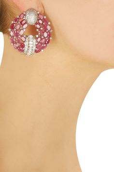 Ruby and swarovski round shaped earrings available only at Pernia's Pop-Up Shop.