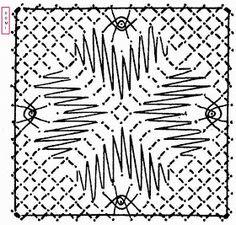 Comme pour le carré n° 14 le 15 se compose de grilles et d'araignées sur fond torchon, mais le rendu est différent.                  Si v...