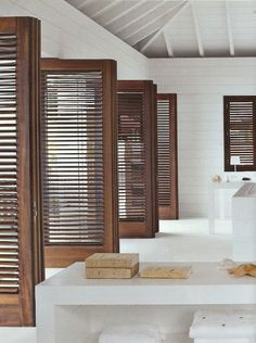 Love The White Contrasted Against The Dark Wood Shutter Doors.