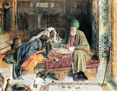 """"""" The Arab Scribe, Cairo by John Frederick Lewis - Signed and dated """" Renaissance, Dutch Golden Age, Art Institute Of Chicago, Arabian Nights, Illustrations, Cairo, Oeuvre D'art, Egypt, Fine Art Prints"""