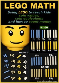 LEGO Math for kids! Using LEGO to teach kids coin values, coin equivalents and how to count money. LEGO makes it fun and easy for kids to understand. Lego Activities, Kindergarten Math Activities, Spelling Activities, Math Games, Money Games For Kids, Math For Kids, Lego Therapy, Learning Money, Lego Math