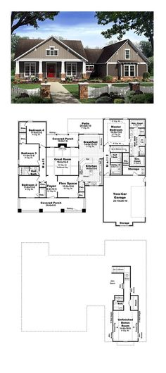 Craftsman House Plan 59198 | Total Living Area: 2400 sq. ft., 4 bedrooms and 2.5 bathrooms. #craftsmanhome