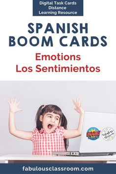 Make practicing Spanish emotions fun with these Boom Cards! Includes 35 matching and fill in the blank questions featuring fun pictures. Kids will want to practice over and over again! #distancelearning #boomcards #spanishemotions #spanishlearning