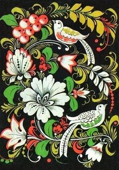 Traditional Khokhloma painting,  Russia. #folk #art