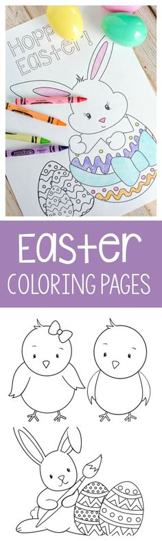 These cute Easter coloring pages for kids are free to print and fun to color! Cute Easter bunny pictures, basket and chicks, and eggs. Everything you could want in an Easter coloring page! Easter Bunny Pictures, Cute Easter Bunny, Easter Art, Hoppy Easter, Easter Decor, Easter Eggs, Easter Games, Easter Activities, Easter Coloring Pages