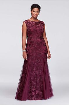 Topped with illusion cap sleeves, this gorgeous stretch tulle plus size evening gown features ornate floral embroidery and godet insets at the hemline for graceful movement. By Alex Evenings Polyester Back zipper; Mother Of The Bride Dresses Long, Prom Dresses Long With Sleeves, Gowns With Sleeves, Tea Length Dresses, Nice Dresses, Formal Dresses, Cap Sleeves, Formal Wear, Wedding Dresses