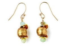 Rustic Brass and Opal Drop Earrings