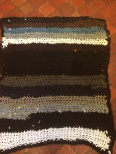 Rug crocheted from old t shirts