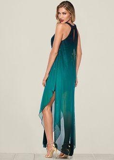 Ombre Glitter Long Dress in Teal Multi Ao Dai, Evening Dresses, Prom Dresses, Formal Dresses, Formal Dress Shops, Black Dress Outfits, Frack, The Dress, Ideias Fashion