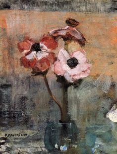 Piet Mondrian 'Anemones in a Vase' Oil on Canvas Art by YGC