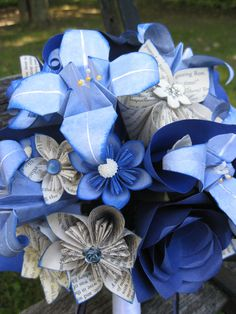 Custom Paper Flower Wedding Bouquets. You Pick The Colors, Papers, Books, Etc.  Anything Is Possible. CUSTOM ORDERS WELCOME by TreeTownPaper on Etsy