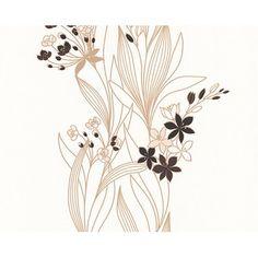 Tapéta 2373-23 habosított virágmintás barna-fehér Abstract, Artwork, Dekoration, Summary, Work Of Art, Auguste Rodin Artwork, Artworks, Illustrators