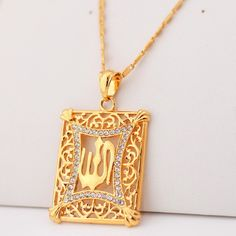 New Islamic Allah Pendant Charms 18K Gold Plated Rhinestone Choker Necklace Religious Muslim Jewelry For Men / Women YP210