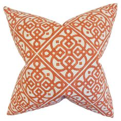 Add a pop of pattern to your sofa or loveseat with this cotton and linen pillow, showcasing a geometric motif in orange.  Product: