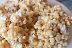Chewy Caramel Popcorn-Since I love caramel popcorn and I've got the munchies I might just have to make this soon.