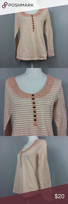 "American Rag Cie Light Pink Striped Crochet Medium American Rag Cie Light Pink Striped Long Sleeve Crochet Henley Womens Medium  Feel free to make an offer or bundle your likes and I'll send you an offer!   Measurements are laying flat 	•	Underarm to underarm 17"" 	•	Length 23"" from shoulder to hem  Condition Description: New With Tags  Inventory # D18  Please check out my other items for more sizes and styles! American Rag Tops Blouses"