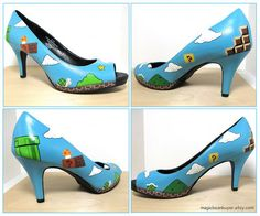 Super Mario High Heels - Love them! Not sure I'd actually wear them but I love Mario! Super Mario Brothers, Super Mario Bros, High Heels, Shoes Heels, Pumps, Shoes Pic, Dress Shoes, Crazy Shoes, Me Too Shoes