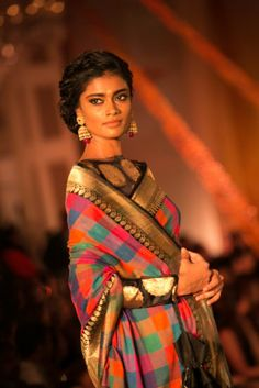 Model in a Manish Malhotra designed saree and blouse. The Regal Threads Collection.